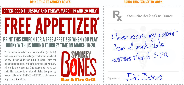 Smokey Bones Coupon April 2018 Free appetizer today at Smokey Bones bar & grill