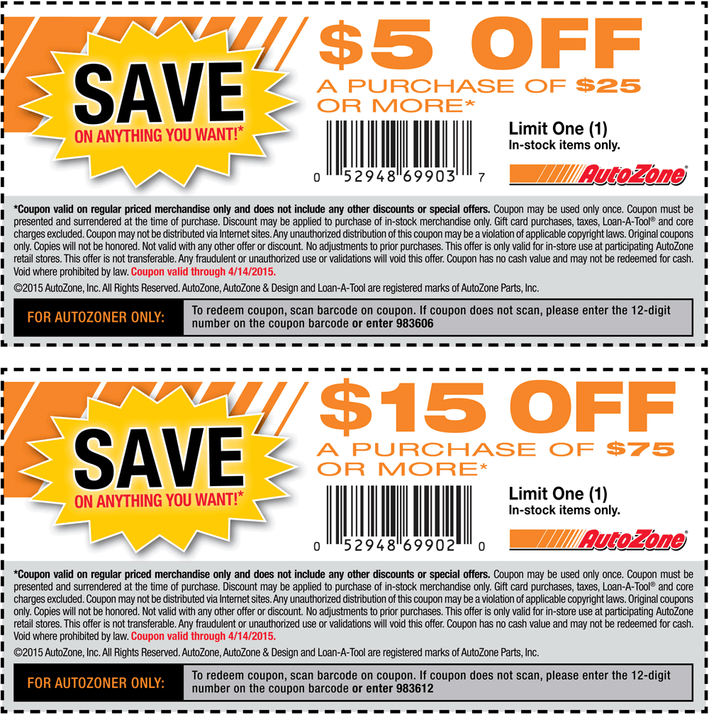 AutoZone Coupon November 2018 $5 off $25 & more at AutoZone