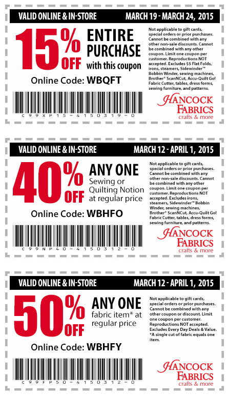 Hancock Fabrics Coupon July 2017 15-50% off at Hancock Fabrics, or online via promo code WBHFY