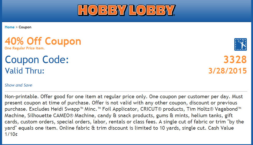 Hobby Lobby Coupon March 2017 40% off a single item at Hobby Lobby, or online via promo code 6569