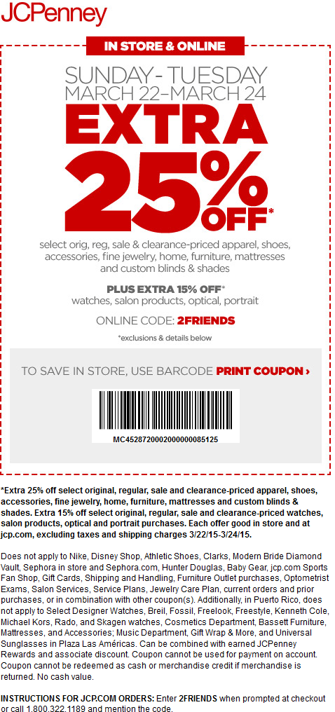 JCPenney Coupon June 2017 Extra 25% off at JCPenney, or online via promo code 2FRIENDS