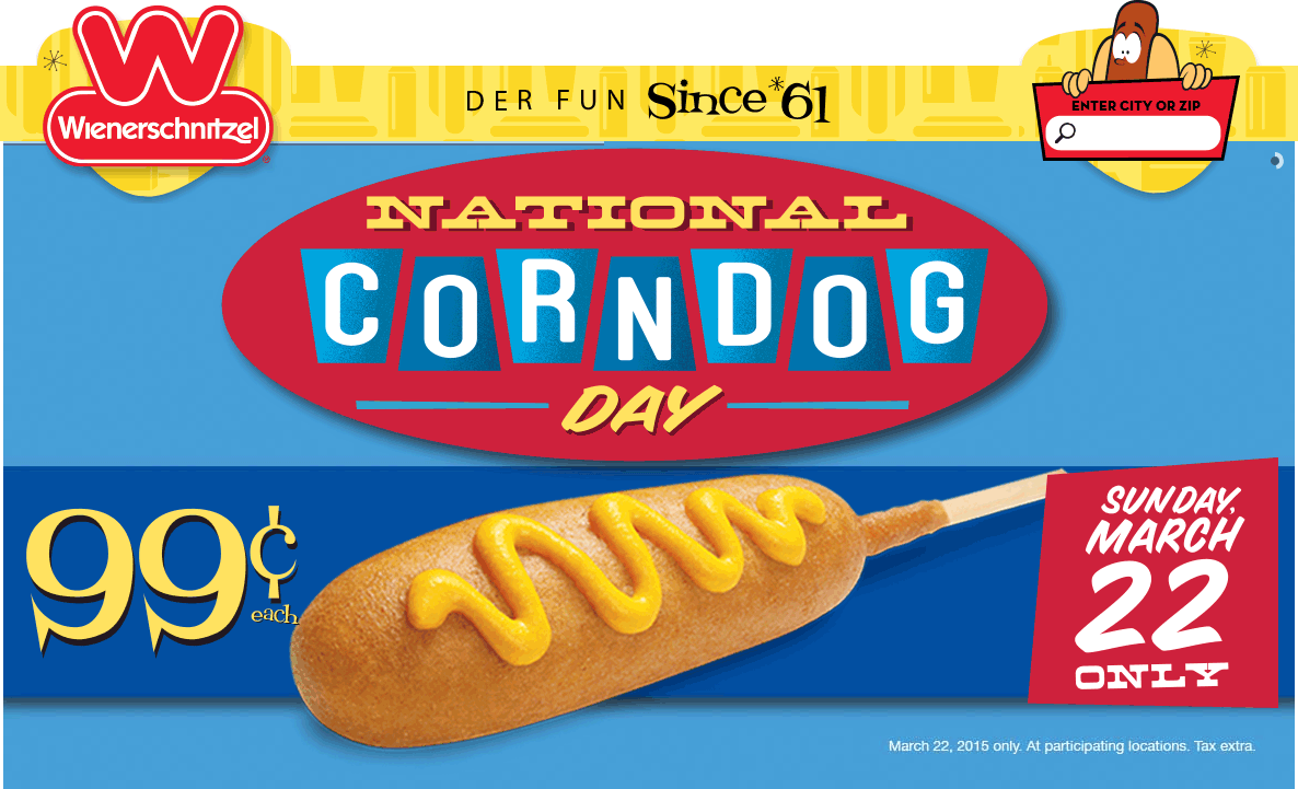 Wienerschnitzel Coupon April 2017 Corn dogs for $1 buck today at Wienerschnitzel restaurants
