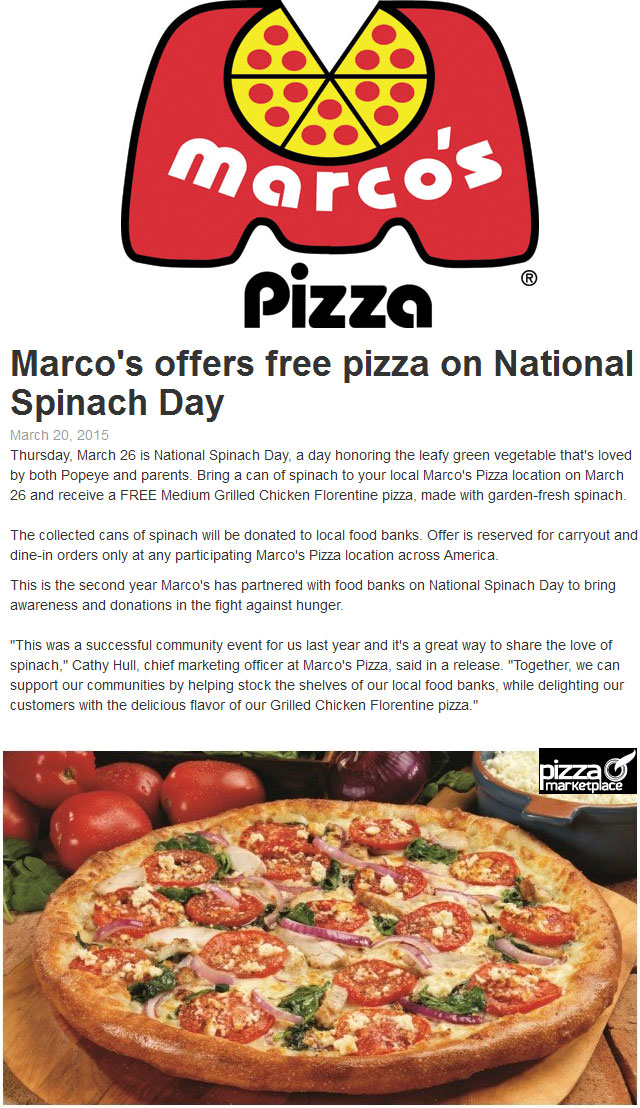 Marcos Pizza Coupon March 2018 Trade canned spinach for a free chicken pizza Thursday at Marcos Pizza