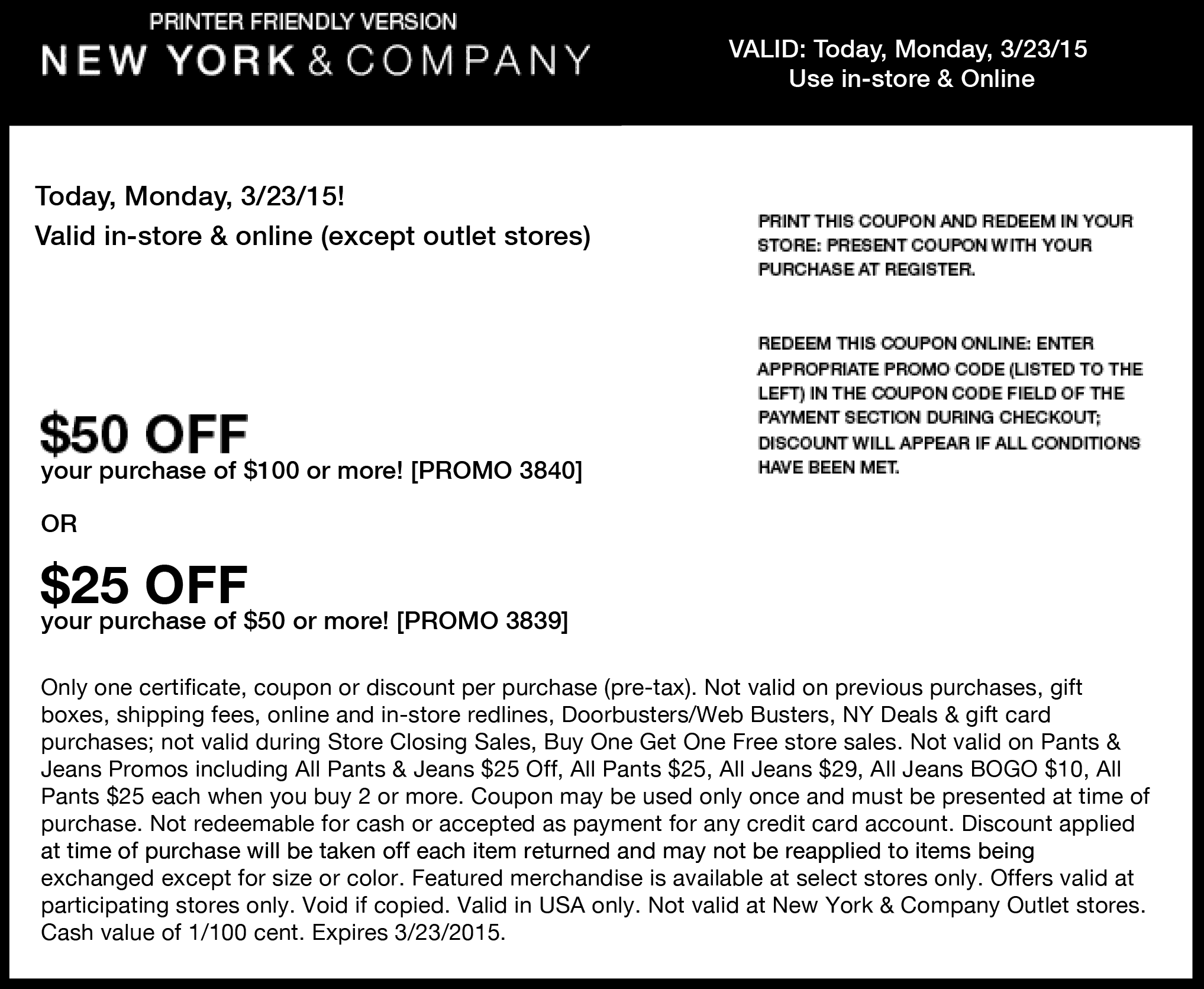 New York & Company Coupon December 2016 $25 off $50 & more today at New York & Company, or online via promo code 3839