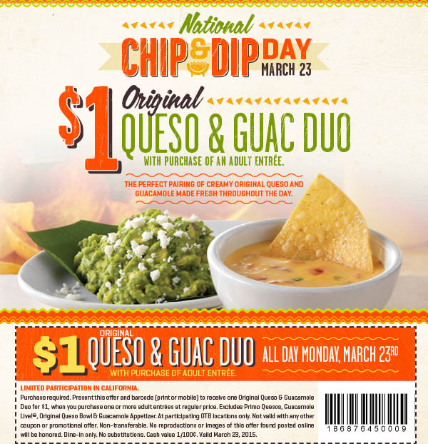 On The Border Coupon April 2017 $1 queso & guac with your entree today at On The Border