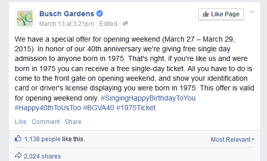 Busch Gardens Coupon January 2018 40yr olds enjoy free admission this weekend to Busch Gardens VA
