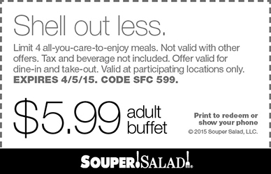 Souper Salad Coupon March 2017 $6 buffets at Souper Salad restaurants