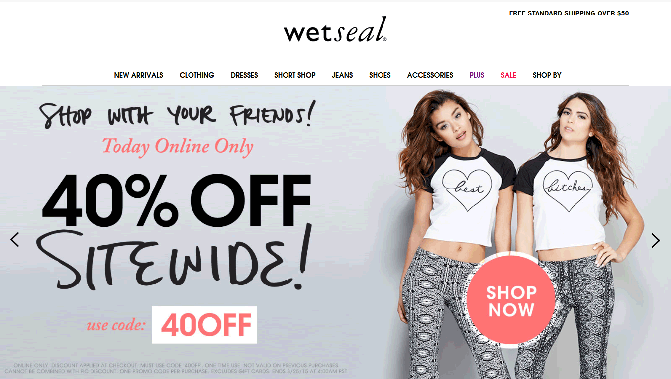 Wet Seal Coupon August 2018 40% off everything online today at Wet Seal