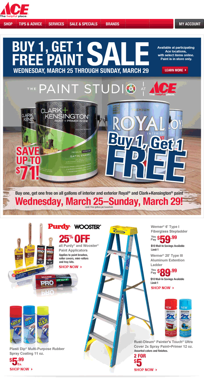Ace Hardware Coupon March 2018 Second paint gallon free at Ace Hardware