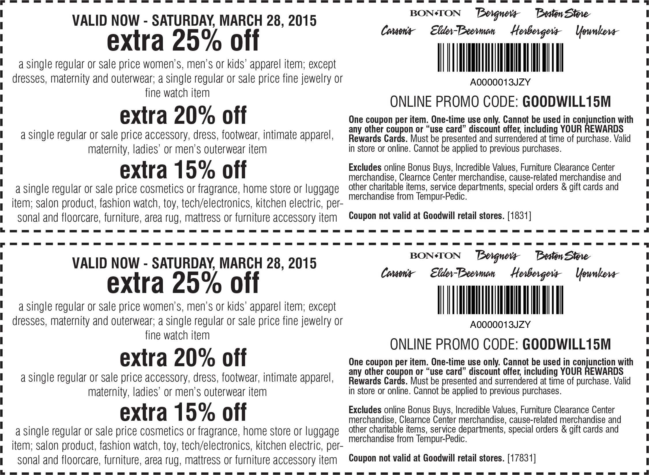 Carsons Coupon October 2016 Extra 25% off a single item at Carsons, Bon Ton & sister stores, or online via promo code GOODWILL15M