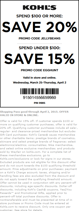 Kohls Coupon January 2018 15-20% off at Kohls, or online via promo code EGGHUNT