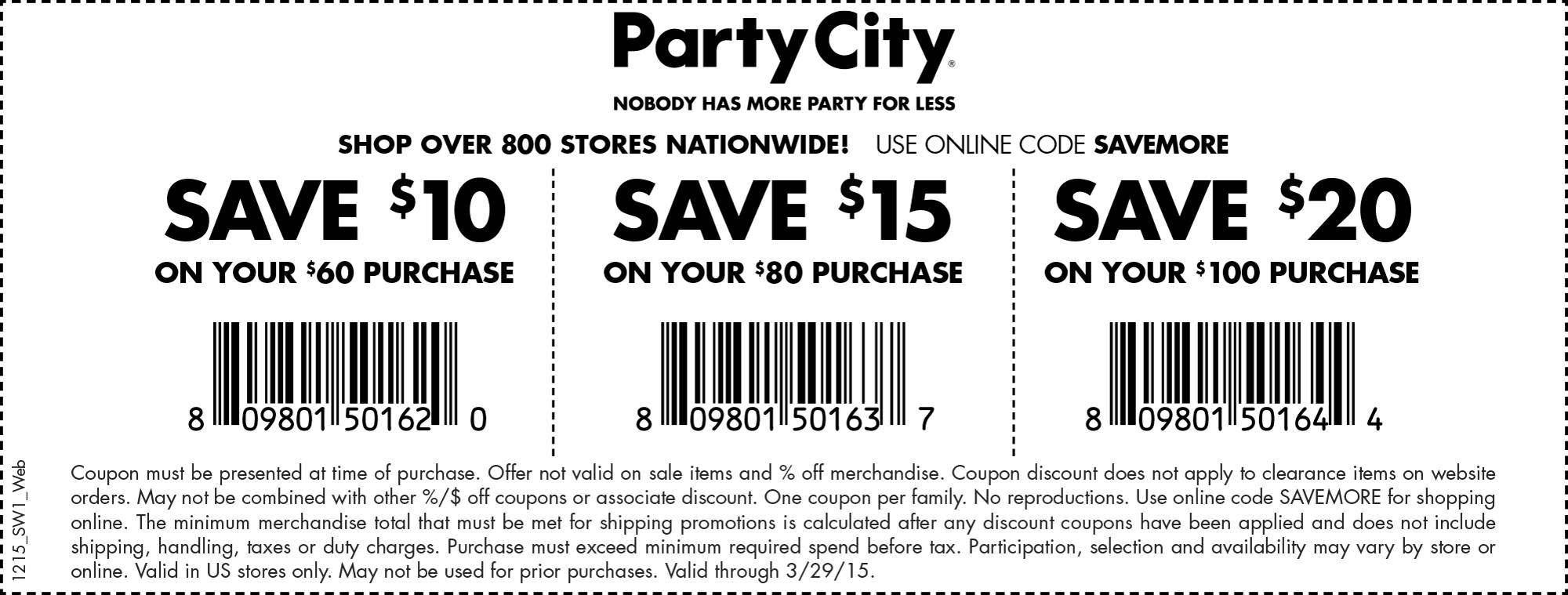 Party City Coupon March 2017 $10 off $60 & more at Party City, or online via promo code SAVEMORE