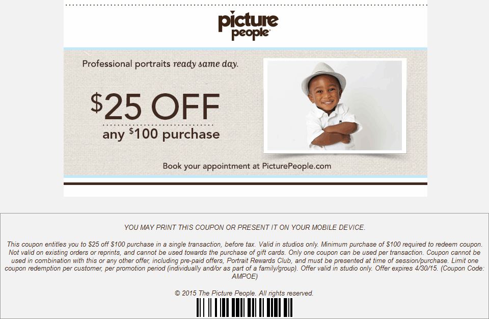 Picture People Coupon March 2018 $25 off $100 at Picture People
