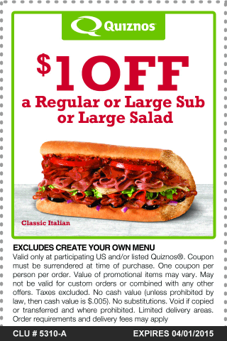 Quiznos Coupon May 2017 Shave $1 buck off your toasty sub or salad at Quiznos