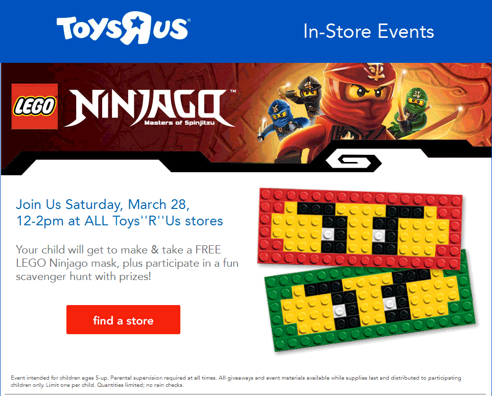 Toys R Us Coupon June 2017 Free Lego ninjago build 12-2pm Saturday at Toys R Us