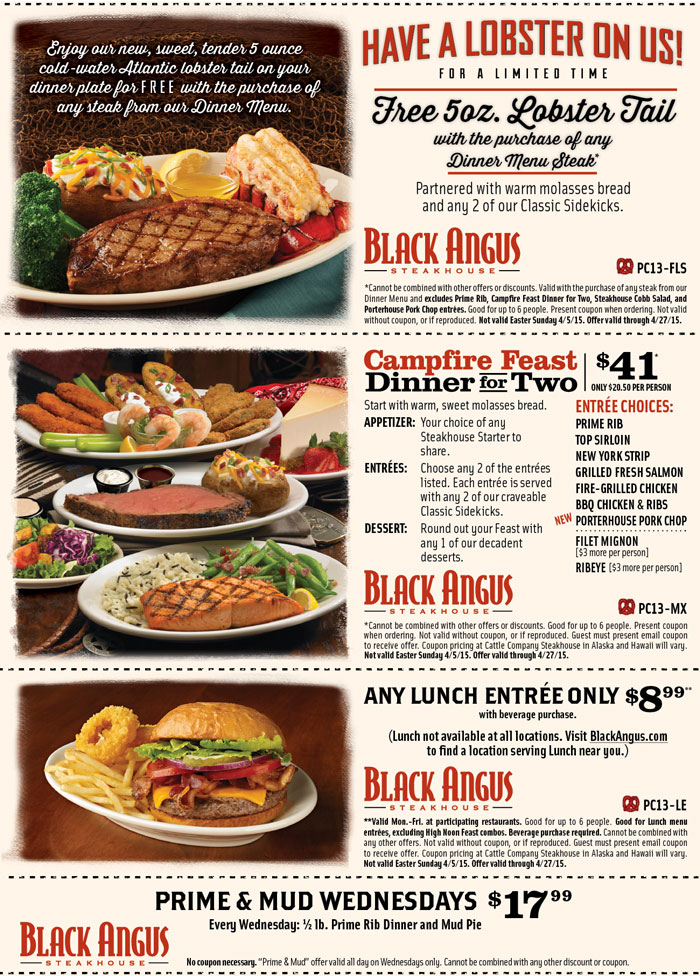 Black Angus Coupon June 2017 Free lobster with your steak & more at Black Angus steakhouse