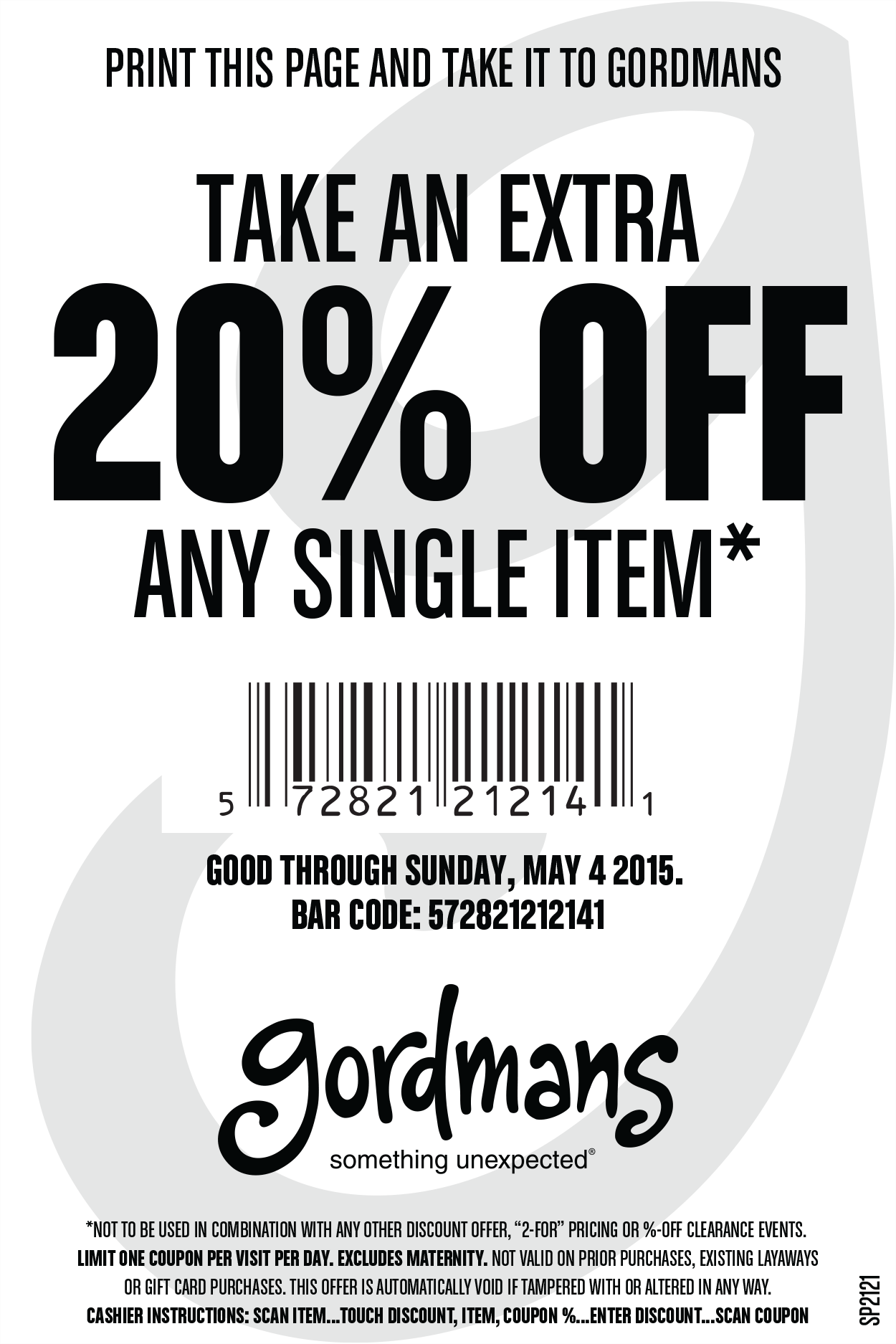 Gordmans Coupon December 2016 20% off a single item at Gordmans