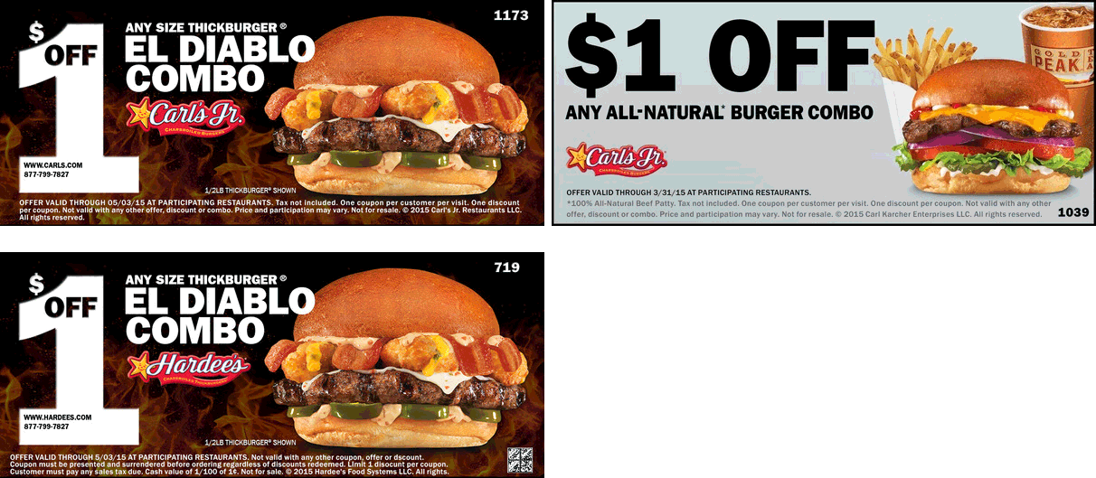 Hardees & Carls Jr. Coupon May 2018 $1 buck off your burger combo at Hardees & Carls Jr.