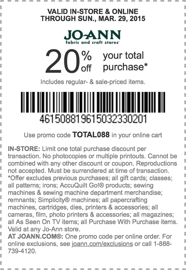 Jo-Ann Coupon April 2018 20% off the tab at Jo-Ann Fabric, or online via promo code TOTAL088