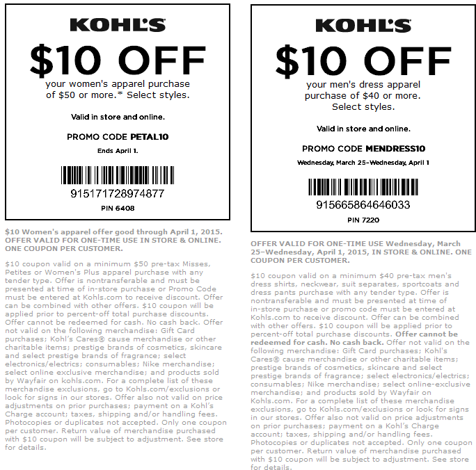 Kohls Coupon December 2018 $10 off $50 on apparel at Kohls, or online via promo code PETAL10 & MENDRESS10