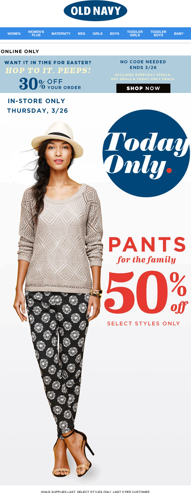 Old Navy Coupon September 2018 50% off pants today at Old Navy, also 30% off the tab online