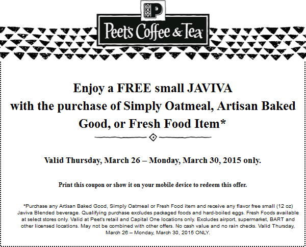 Peets Coffee & Tea Coupon March 2017 Free blended drink with your food item at Peets Coffee & Tea
