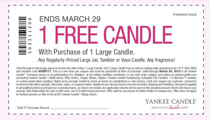 Yankee Candle Coupon March 2018 Second large candle free at Yankee Candle, or online via promo code BUNNY17