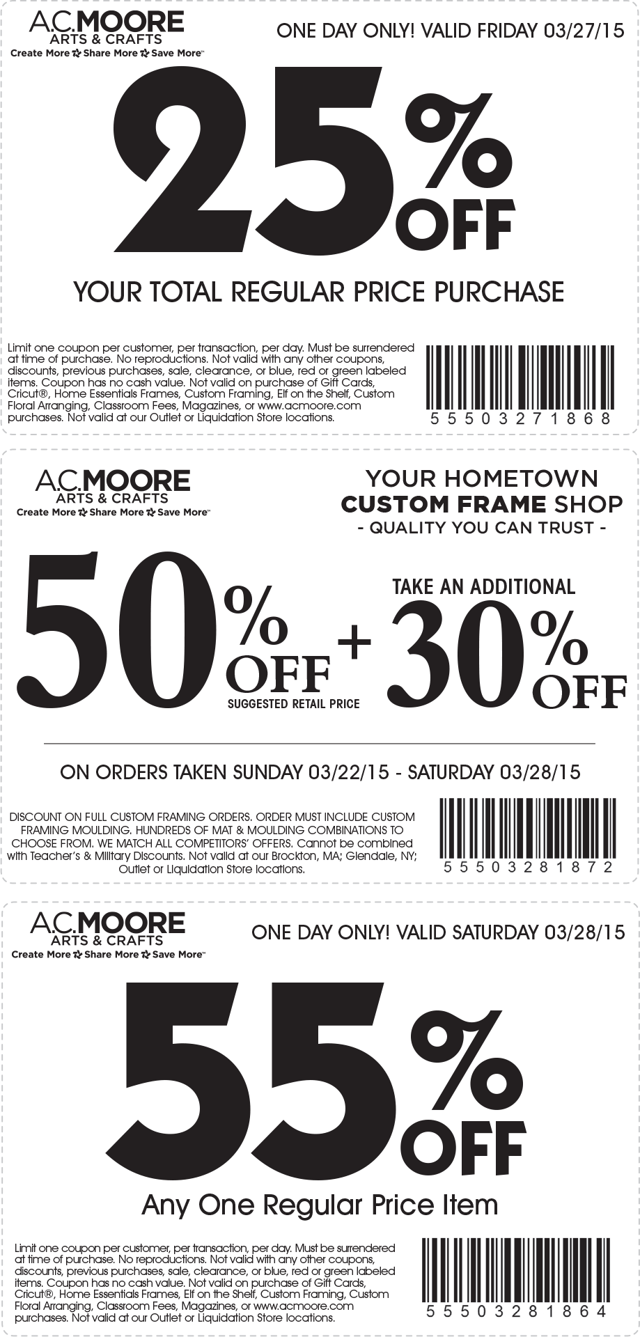A.C. Moore Coupon March 2019 55% off a single item & more at A.C. Moore