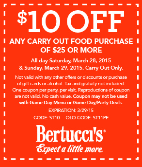 Bertuccis Coupon January 2018 $10 off $25 on takeout from Bertuccis restaurants