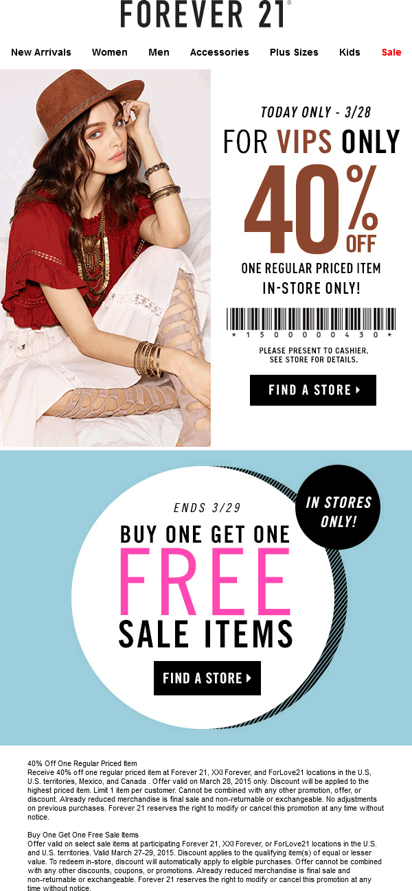 Forever 21 Coupon December 2018 40% off a single item today at Forever 21, XXI Forever, and ForLove21 - also 2-for-1 sale items