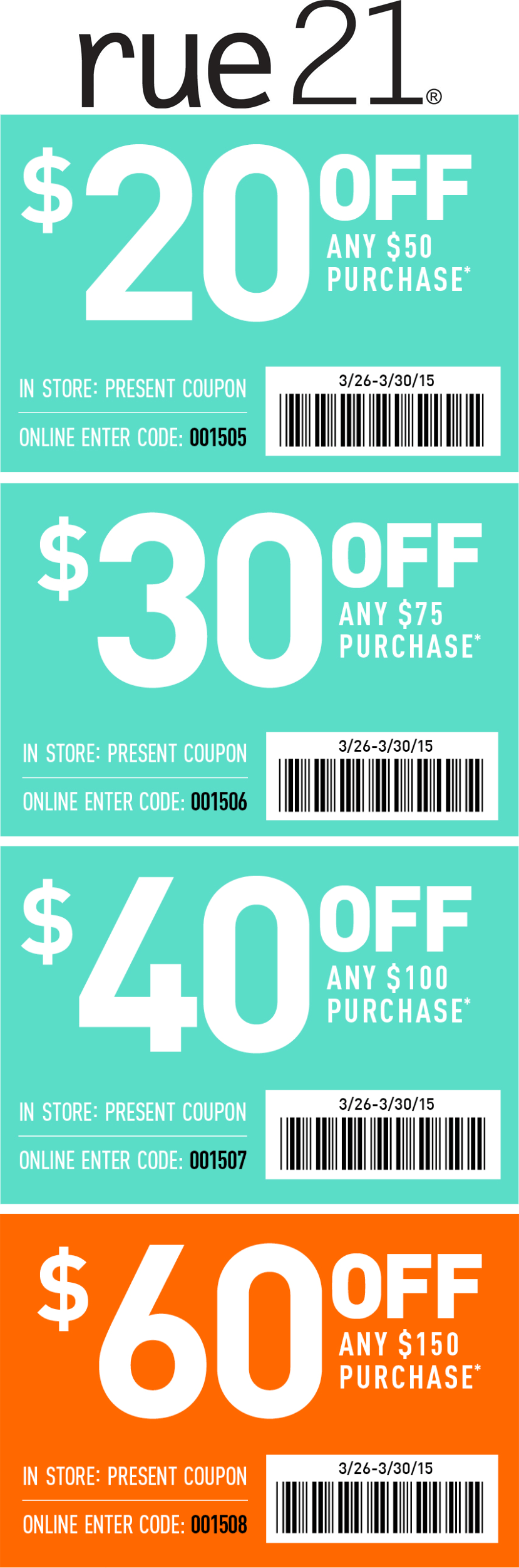 Rue21 Coupon February 2019 $20 off $50 & more at rue21, or online via promo code 001505