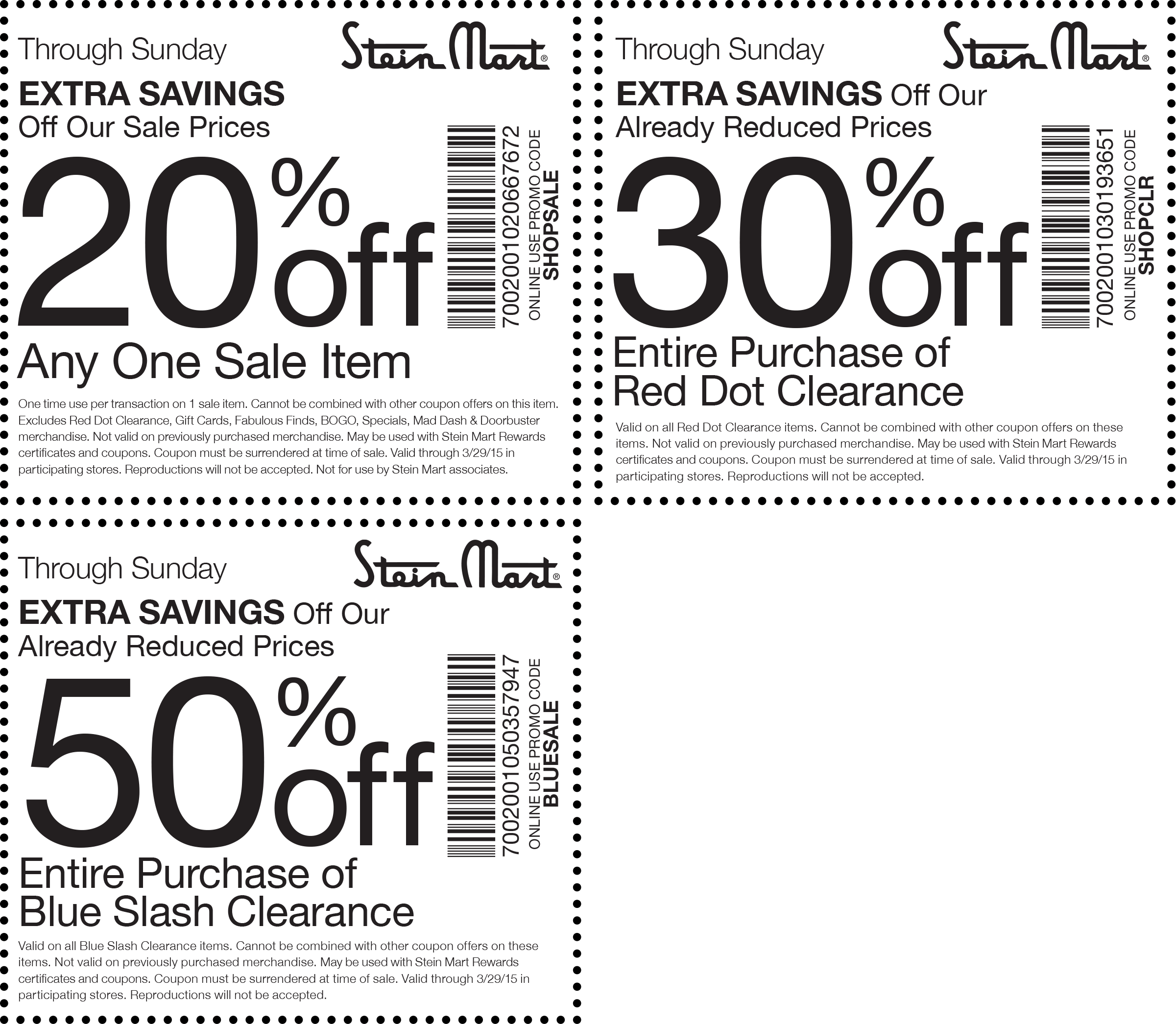 Stein Mart Coupon May 2018 50% off clearance & more at Stein Mart, or online via promo code BLUESALE