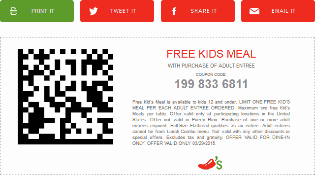 Chilis Coupon March 2017 Kids meal free with yours today at Chilis