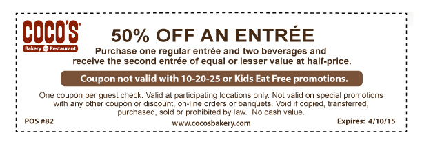 Cocos Coupon December 2016 Second entree 50% off at Cocos bakery restaurants
