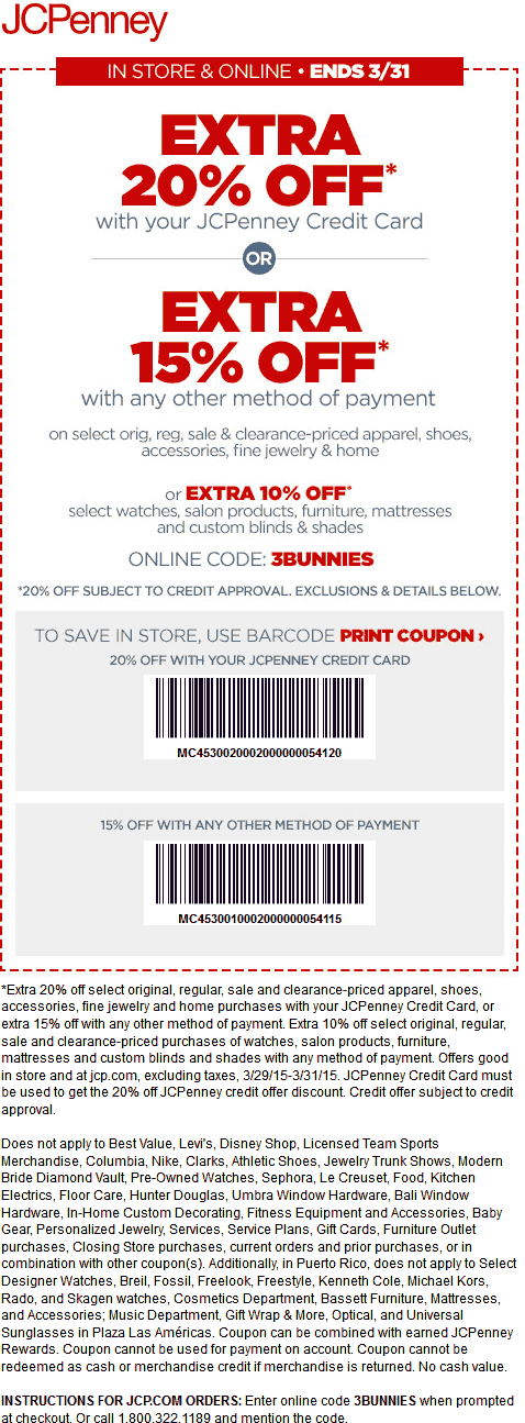 JCPenney Coupon November 2017 15% off at JCPenney, or online via promo code 3BUNNIES