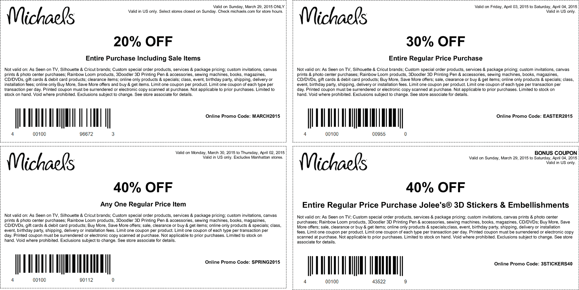 Michaels Coupon February 2017 20-40% off at Michaels, or online via promo code SPRING2015