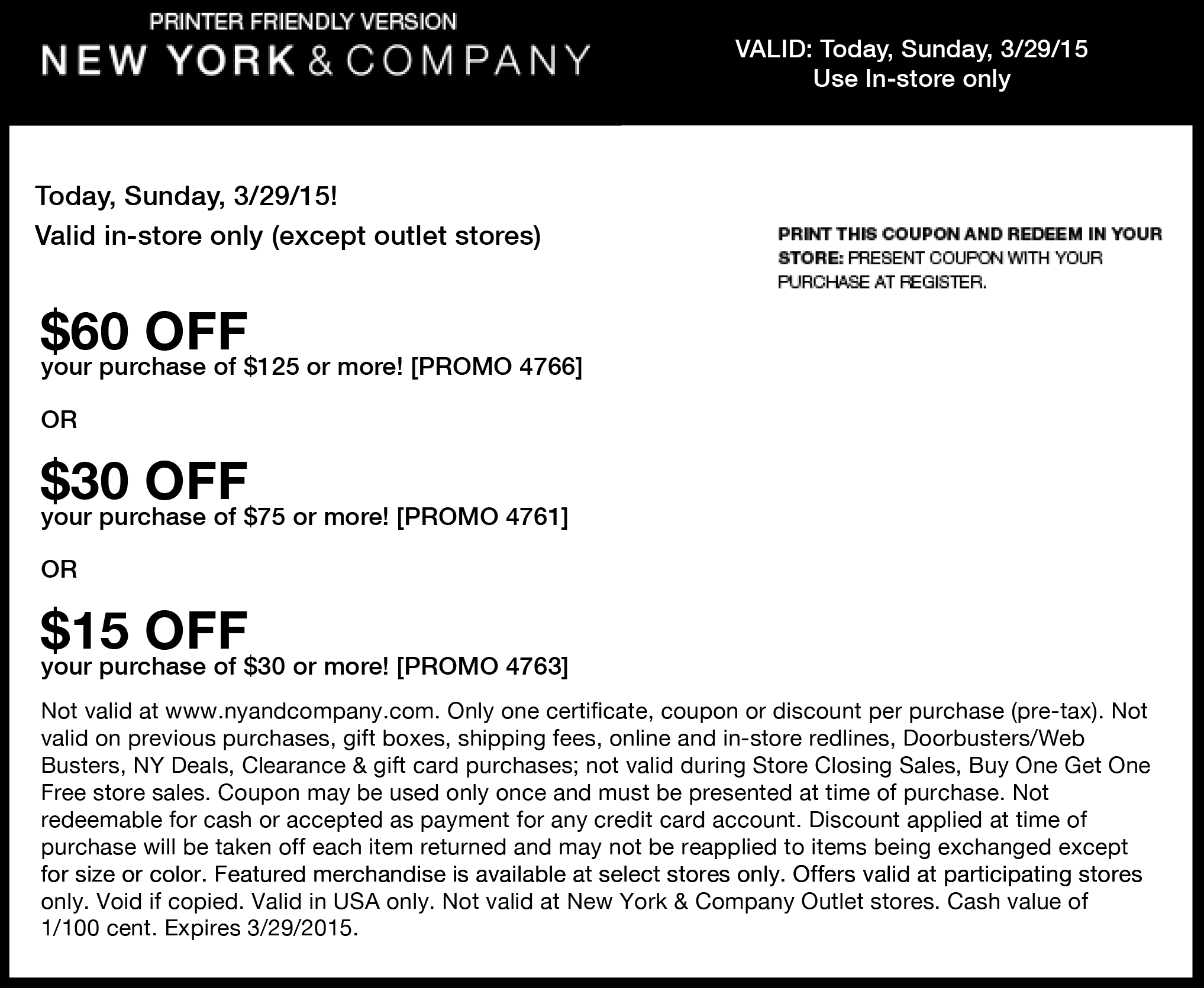 New York & Company Coupon November 2017 $15 off $30 & more at New York & Company, or online via promo code 4763