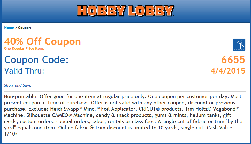 Hobby Lobby Coupon October 2016 40% off a single item at Hobby Lobby, or online via promo code 6655