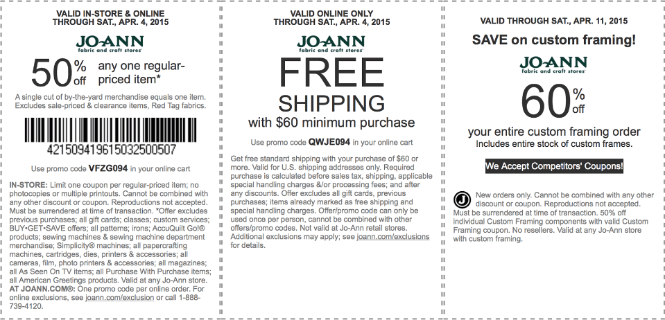 Jo-Ann Fabric Coupon July 2018 50% off a single item at Jo-Ann Fabric, or online via promo code VFZG094