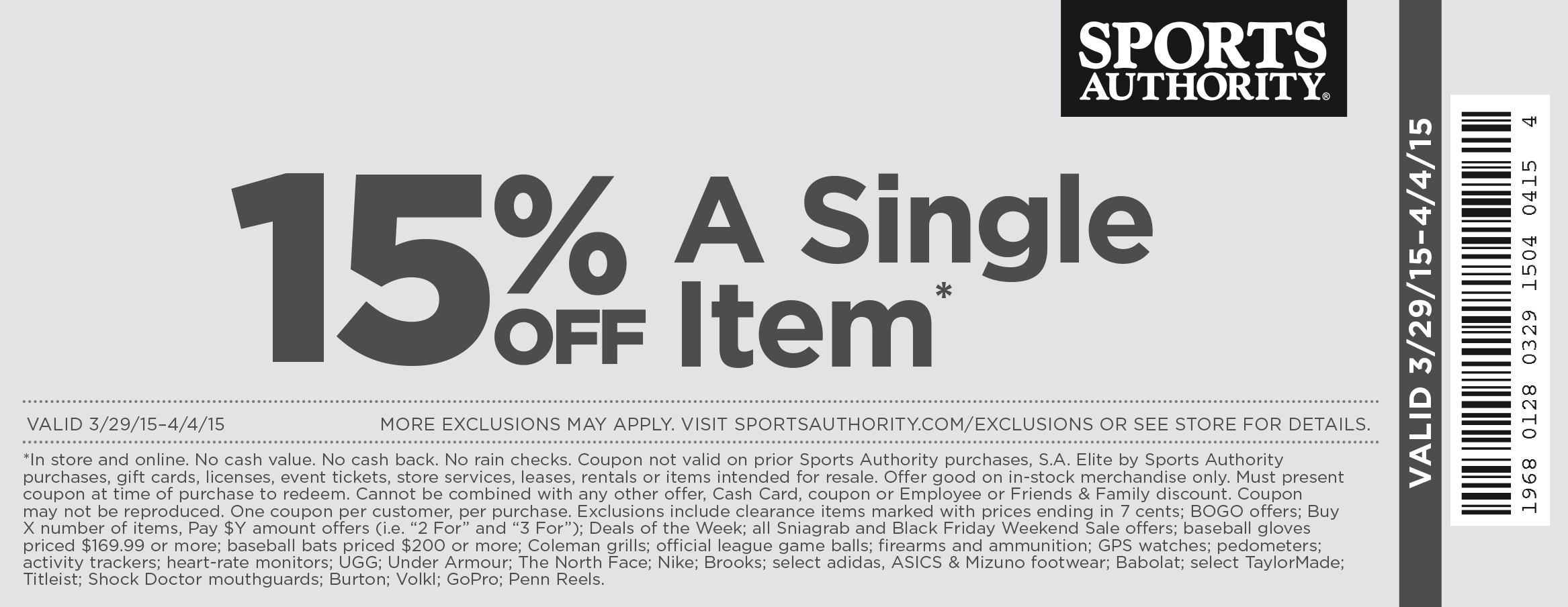 Sports Authority Coupon January 2017 15% off a single item at Sports Authority, ditto online