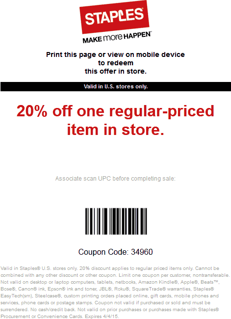 Staples Coupon April 2018 20% off a single item at Staples