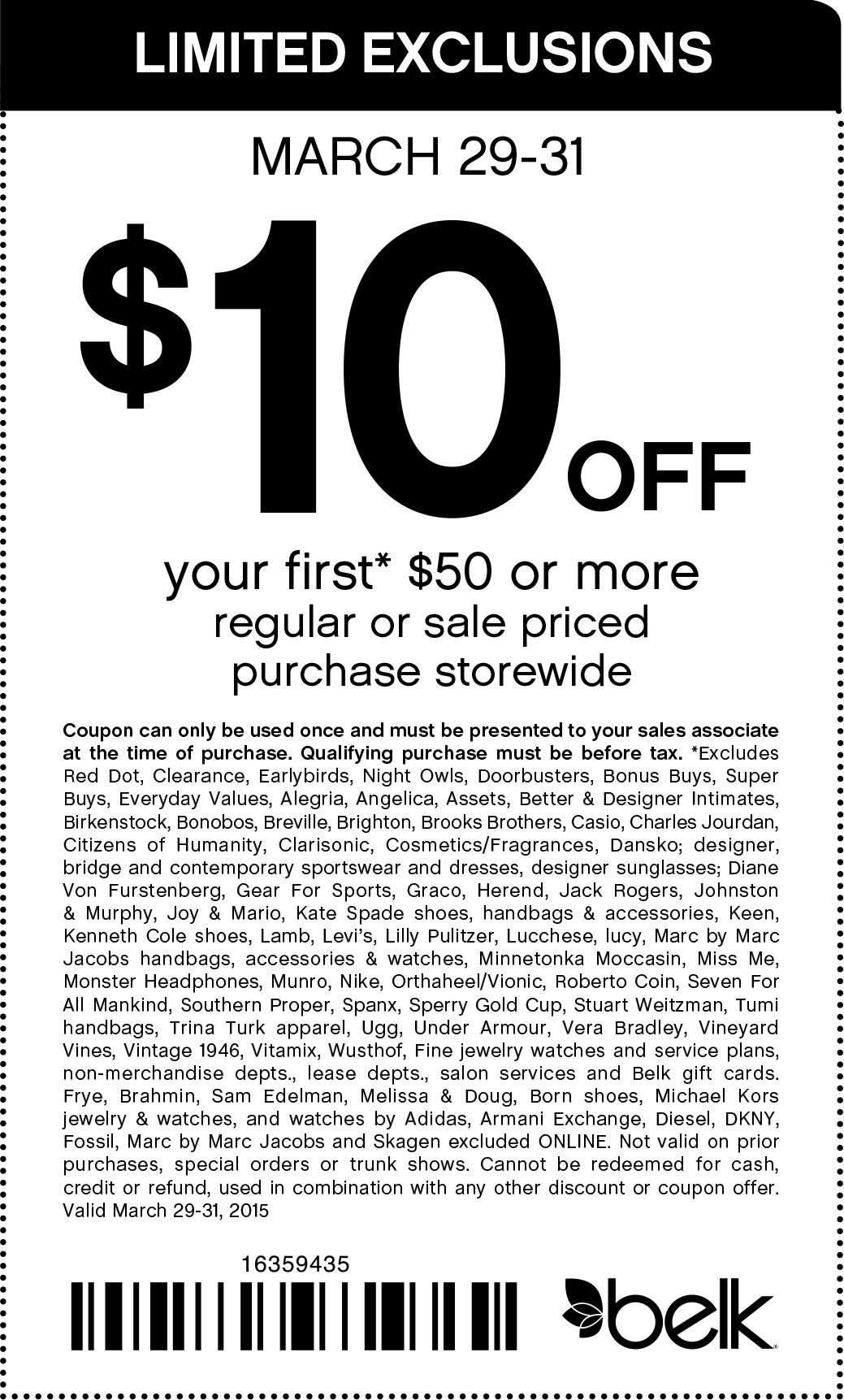 Belk Coupon May 2019 $10 off $50 today at Belk, or online via promo code 16359435
