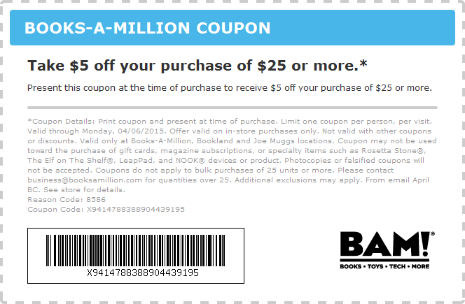 Books-A-Million Coupon December 2016 $5 off $25 at Books-A-Million