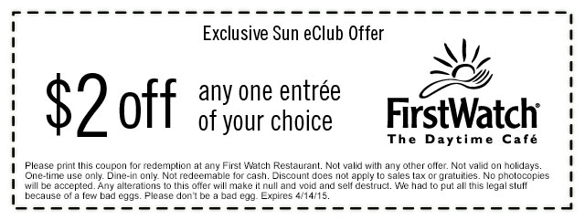 FirstWatch Cafe Coupon February 2017 $2 off any entree at FirstWatch cafe