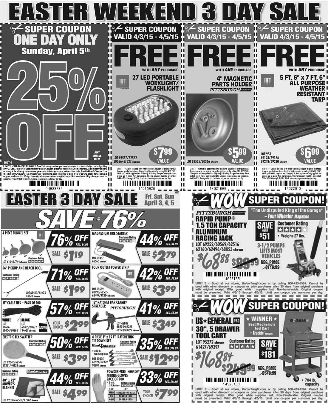 Harbor Freight Coupon March 2017 25% off a single item & more at Harbor Freight Tools, or online via promo code 14933734