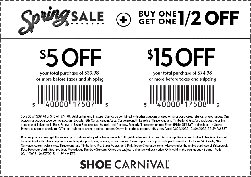 Shoe Carnival Coupon June 2017 $5 off $40 & more at Shoe Carnival, or online via promo code SPRINGTREAT