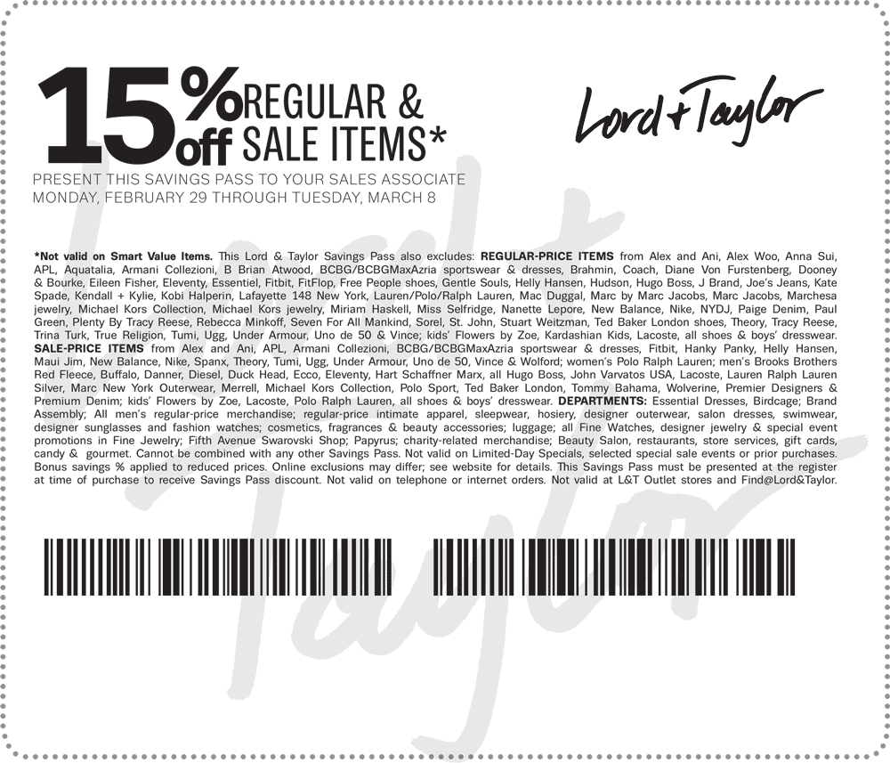 Lord & Taylor Coupon August 2018 15% off at Lord & Taylor, or online via promo code STYLE