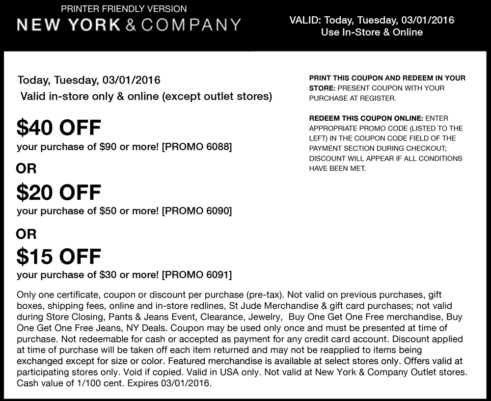 New York & Company Coupon January 2018 $15 off $30 & more today at New York & Company, or online via promo code 6091