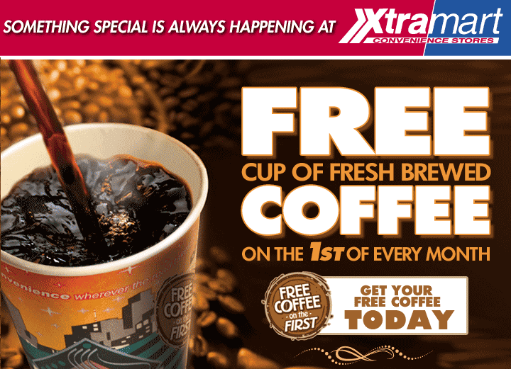 Xtra Mart Coupon March 2019 Free coffee today at Xtra Mart gas stations