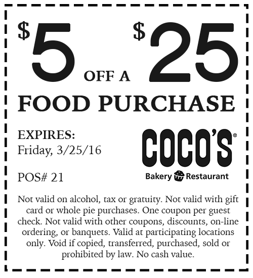 Cocos Coupon December 2016 $5 off $25 at Cocos bakery restaurant